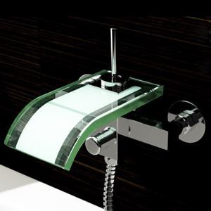 Glass Waterfall Tub Faucet Contemporary Wall Mount Bathtub Tap
