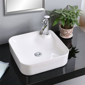 European Square Single Sink White Ceramic Vessel Sink Without Faucet
