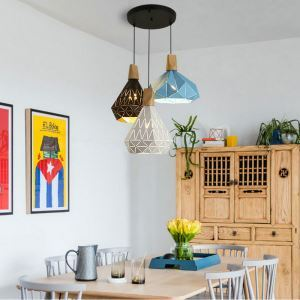 Nordic Pendant Light Macaron Diamond Lamp Metal 3 Lights Living Room Dining Room Light QMJD1054