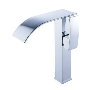 Modern Bathroom Sink Faucet Simple Waterfall Basin Tap Chrome Finished