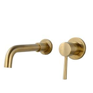 Brushed Brass Bathroom Sink Faucet Wall Mounted Face Basin Tap