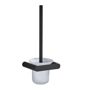Simple Black Toilet Brush Stainless Steel Toilet Accessories With Toilet Brush Holder