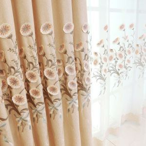 Fresh Morning Glory Curtain Modern Simple Embroidery Curtain Living Room Bedroom Fabric(One Panel)