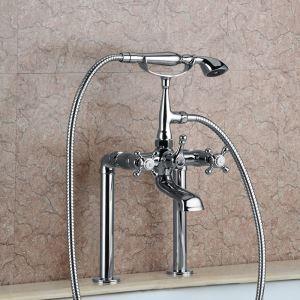 European Classical Bathtub Faucet Handheld Shower Tub Tap Triple Handles Tap Chrome/Gold