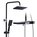 Thermostatic Shower Faucet System Rainfall Shower Tap With Flat Shelf Black/White