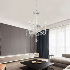 Luxury Crystal White Chandelier Creative Retro Style Light Living Room Dining Room Light QM9928