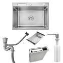 Single Bowl Stainless Steel Kitchen Sink with Drainer Basket and Knife Holder 6245L