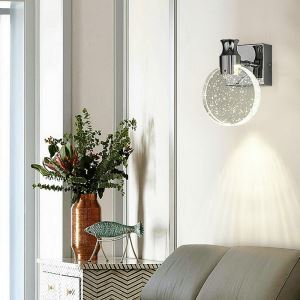 Nordic LED Wall Light Crystal Bubble Wall Sconce Round Pie Lamp Hallway Living Room Light QM6003