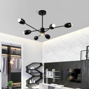 Modern LED Pendant Light Ellipse Shape Chandelier Cool Black Lamp Living Room Bedroom Light QM1834B
