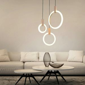 Contemporary LED Pendant Light Creative Ring Shape Lamp Acrylic Light Hallway Bedroom Light QM88231