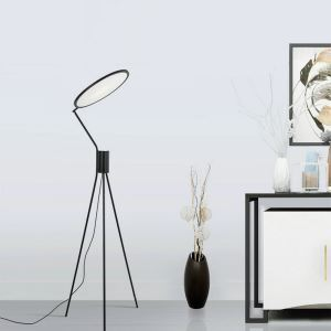 Contemporary LED Floor Lamp Acrylic Tripod Stand Floor Round Light Bedroom Study Light QM8513
