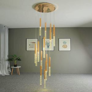 Nordic LED Crystal Pendant Light Bubble Cylinder Lamp Decor Light Living Room Bedroom Light QM8005