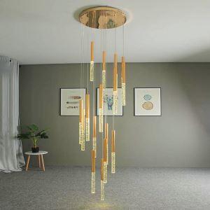 Nordic LED Crystal Pendant Light Bubble Cylinder Lamp Decor Light Living Room Bedroom Light QM8005