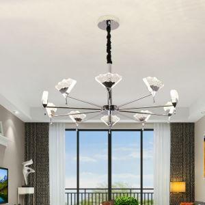 Nordic LED Crystal Chandelier Leaf Shape Bubble Pendant Light Living Room Dining Room Lamp QM8019