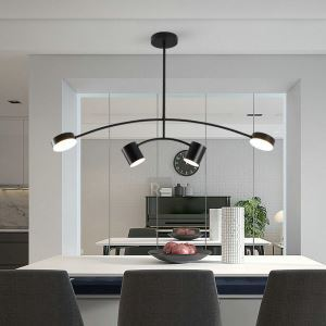Contemporary LED Pendant Light Acrylic Simple Black Lamp Curved Light Restaurant Living Room Light QM6953