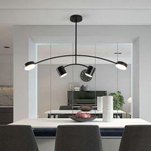 Contemporary LED Pendant Light Acrylic Simple Black Lamp Curved Light Restaurant Living Room Light QM6953