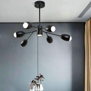 Modern LED Pendant Light Acrylic Simple Black Chandelier Living Room Bedroom Lamp QM1834