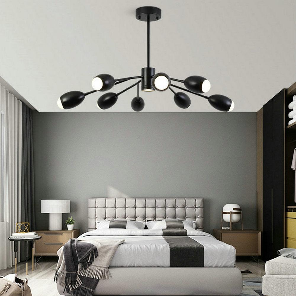Modern LED Pendant Light Acrylic Simple Black Chandelier ...