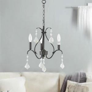Elegant Crystal Chandelier Modern Home Light Retro Black Lamp Study Bedroom Light QM9930
