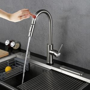 Intelligent Touch Sensor Kitchen Faucet 304 Stainless Steel Kitchen Tap with Touch Switch