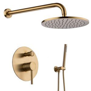 Modern Shower Faucet Set Round Rainfall Shower Tap Wall Mounted Black/Gold