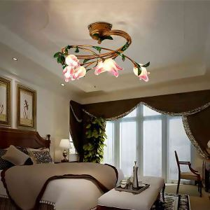European Style Retro Iron Purple-red Tulip Glaze Shade 6 Lights LED Flush Mounts Energy Saving