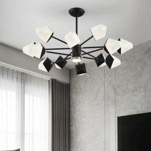 Contemporary LED Pendant Light Polygon Chandelier Lamp Warmth Lighting Living Room Bedroom Light QM1830