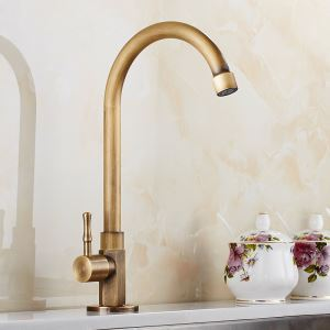Antique Brass Sink Faucet Brushed Kitchen Sink Single Hole Tap