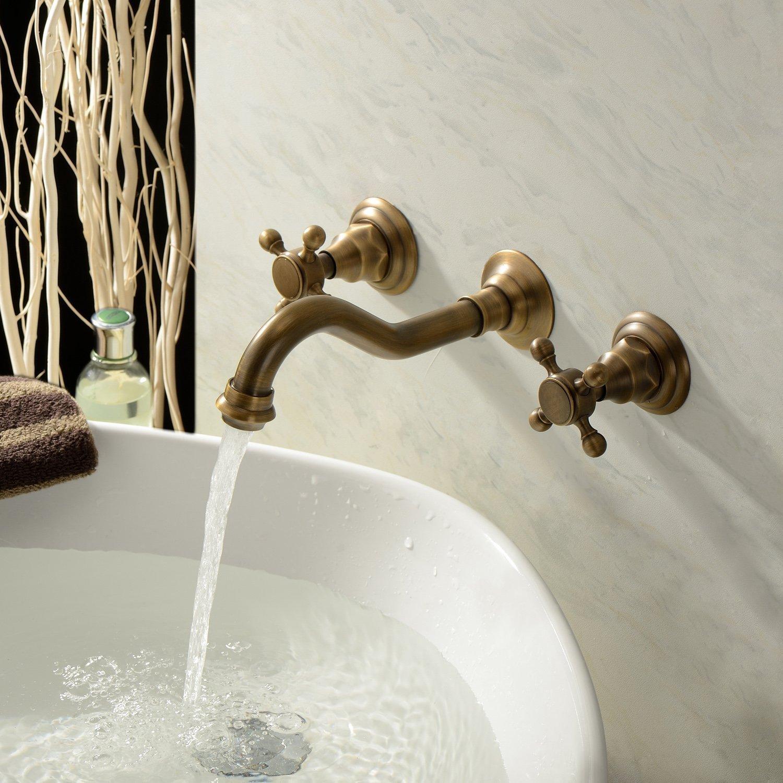 Old Fashion Bathroom Sink Faucet Antique Vessel Tap Polished Brass Finish