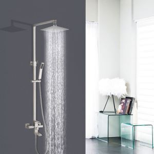 Brass Shower Faucet Set Adjustable Shower Head Rotatable Spout Black Chrome Nickel Brushed Three Color Optional