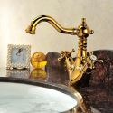 Dual Handle Golden Swan Deck-mounted Single Hole Basin Taps