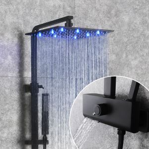 Black LED Shower Faucet Wall Mount Shower Set with Lifting Shower Rod 12 Inch