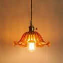 Vintage Colorful Ribbed Glass Pendant Light Flower Shade Lamp With Twist Switch Dining Room Living Room Hallway Light LZ92