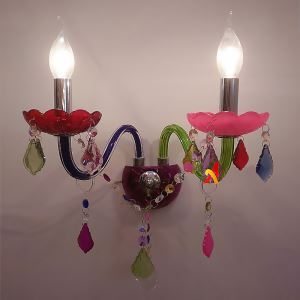 Colourful Crystal Sconce European Two-Light Wall Light Bedroom Hotel Aisle