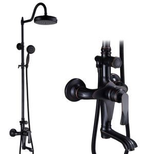 Retro ORB Black Shower Faucet Rainfall Shower Set with Lifting Shower Rod Rotatable Spout