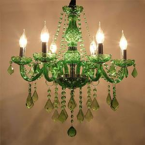 Unique Crystal Chandelier European Style Grass Green Pendant Light Dining Room Living Room HQ 9059
