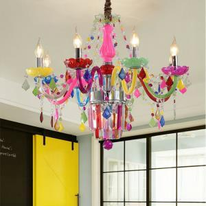 Colourful Crystal Chandelier European Unique Pendant Light Kids Room Bedroom