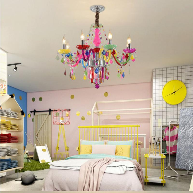 Colourful Crystal Chandelier European Unique Pendant Light Kids Room Bedroom