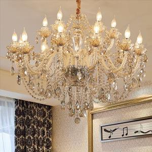 European Crystal Chandelier Luxury Cognac Pendant Light Living Room Dining Room