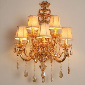 Luxury Crystal Sconce European Wall Light Zinc Alloy Five Light Living Room Aisle