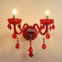 European Crystal Sconce Wall Light Red Colour Light Hallway Hotel Rooms HQ 315
