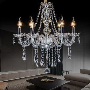 Large European Crystal Chandelier Transparent Ceiling Light Bedroom Living Room