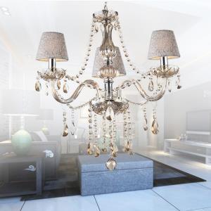 Classic European Crystal Chandelier Cognac Pendant Light Bedroom Study