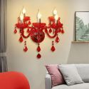 European Crystal Sconce Red Colour Wall Light Hotel Rooms Hallway HQ 315