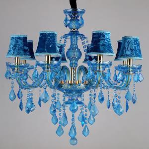 Large Blue Crystal Chandelier European Pendant Light Living Room Bedroom HQ9050