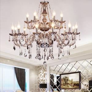 Large European Crystal Chandelier Elegant Pendant Light Bedroom Living Room