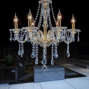 European Style Gold Crystal Chandelier Pendant Light Bedroom Living Room