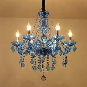 European Style Blue Crystal Chandelier Unique Pendant Light Hotel Living Room HQ9048