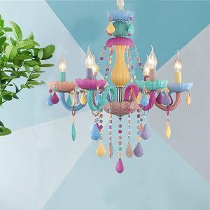 European Colorful Crystal Chandelier Macaron Pendant Light Bedroom Living Room Children Room