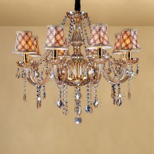 Large European Crystal Chandelier Amber Colour Pendant Light Bedroom Living Room